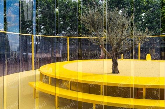 Lanière transparente largeur 400 mm en pvc souple