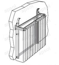 Montage rideau à lanières repliable en accordéon apsol fixé en applique avec déport